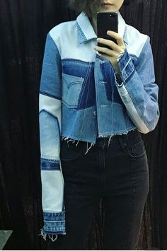 16 Ideas For Patchwork Jeans Jacket Recycled Denim Outfit Jeans, Jeans Recycling, Sewing Jeans, Elisa Cavaletti, Mode Jeans, All Jeans, Denim Ideas, Patchwork Jeans, Recycled Denim