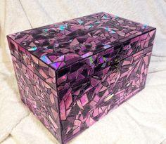 Purple Mirror Mosaic Box, gemaakt van oude CD's!