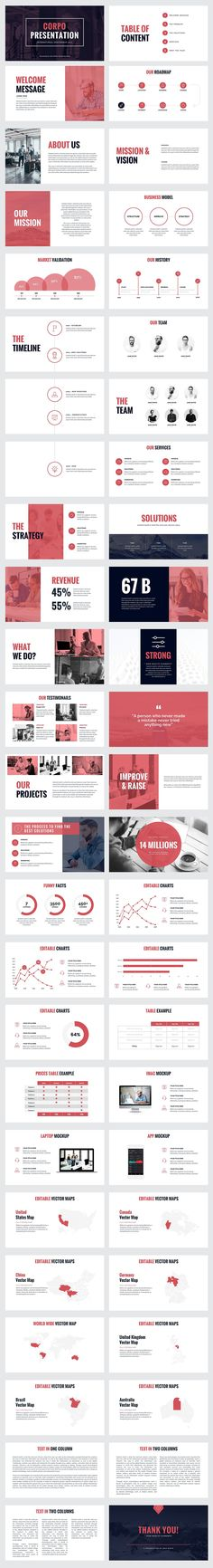 Corpo business powerpoint template is an innovative and modern looking design which will give you the professional edge during your project's presentation Powerpoint Design Templates, Ppt Design, Creative Powerpoint, Slide Design, Layout Design, Modern Powerpoint Design, Corporate Presentation, Presentation Layout, Presentation Slides