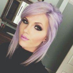 purple hait pink lips