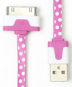 Hot Pink Polka Dot Sync Cable for iOS Device