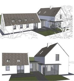 Top Bungalow Home Renovation Ideas Bungalow Extensions, House Extensions, House Designs Ireland, Cottage Extension, L Shaped House, Plans Architecture, Cottage Renovation, Modern Farmhouse Exterior, Building A House