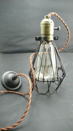 1 antique vintage style edison Industrial cage lamp with by BigToy, $78.00
