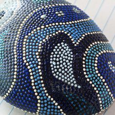Swirled Shades of Blue Painted Dot Rock by JandEDesigns