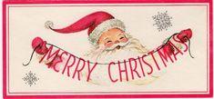 Santa with Merry Christmas garland