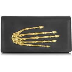 Bernard Delettrez Handbags Black Nappa Leather Pochette w/Skeleton... (1 320 AUD) ❤ liked on Polyvore featuring bags, handbags, clutches, accessories, purses, bolsas, black, gothic purse, hand bags and handbags & purses