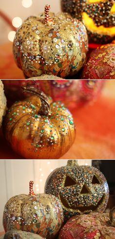 Make fancy pumpkins from thrift store cast-offs.
