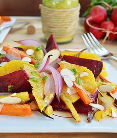 These earthy root vegetables pair well with the citrusy orange-tarragon vinaigrette, a combo that the whole family can get into. The veggies in this salad are nutritional powerhouses – beets are high in folate, manganese and potassium, rutabaga packs in the Vitamin C and just one carrot has more than 200 percent of your daily requirement of Vitamin A.