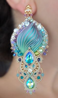 """REGINA"" Earrings - Designed by Serena Di Mercione - Beadembroidery and Soutache - Shibori silk, Swarovski and pearls."