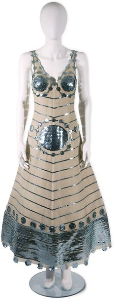 1968 Courreges (nude silk organza and over 15,000 hand-stitched sequins)