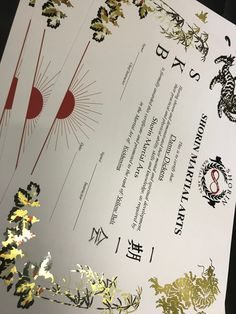 a4 certificate with gold foil border and colour gloss print martialarts