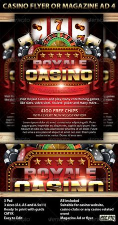 Buy Casino Magazine Ad or flyer Template by Hotpin on GraphicRiver. Casino Magazine Ad or flyer is a modern psd template and perfect promotion for any Casino website, casino club, or ca. Casino Royale, Casino Theme Parties, Casino Party, Casino Night, Zootopia, James Bond, Best Casino Games, Gambling Games, 15 Anos