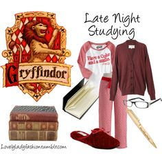"""""""Gryffindor Late Night Studying"""" by nearlysamantha on Polyvore"""