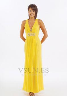 5b090595d9 Comprar barato Vestido de noche Glamouroso Baja escote en V Escote en V  Amarillo Hasta el Tobillo de vsun.es