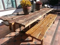teak from a bridge in Indonesia into a beautiful outdoor table and benches.