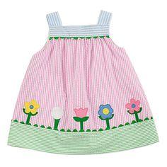 Florence Eiseman Girls Pink Stripe Seersucker Sun Dress with Flowers