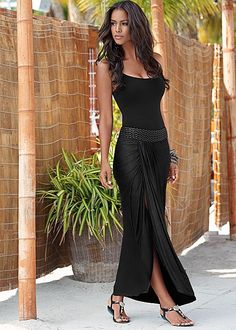 SEAMLESS CAMI, BRAIDED WAISTBAND MAXI, EMBELLISHED STRETCH SANDAL