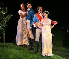 "From left, Audra McDonald as Olivia, Stark Sands as Sebastian, Raúl Esparza as Orsino and Anne Hathaway as Viola in ""Twelfth Night"" (2009)."