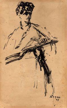 Partisan, 1943, Alexander Bogen, Ink on paper