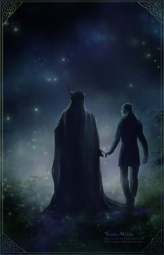 Walking in Starlight by Kinko-White on deviantART....i love how this portrays Thranduil and Legolas!!