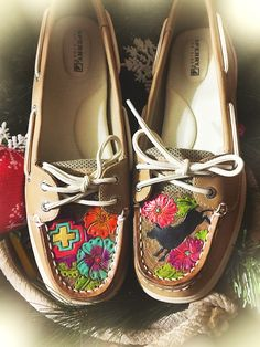 Custom Sperry shoes hand tooled
