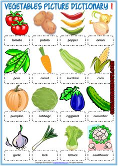 Vegetables ESL Printable Picture Dictionary For Kids Learning English For Kids, English Lessons For Kids, Kids Learning, Dictionary For Kids, Picture Dictionary, Flashcards For Kids, Worksheets For Kids, Printable Worksheets, Ingles Kids