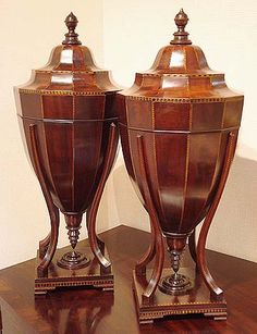 A Pair of Very Fine George III Inlaid Mahogany Fully Fitted Knife Urns English 1800