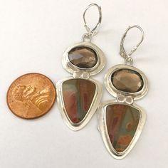 Smoky quartz and jasper dangle earrings by metaldreamer on Etsy