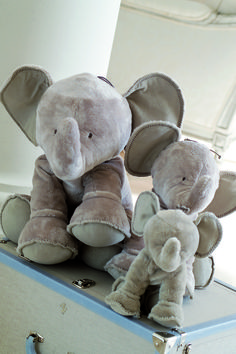 Taupe family of Fernand the elephant soft toys