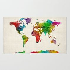 Watercolor Map of the World Map Rug by ArtPause - $28.00