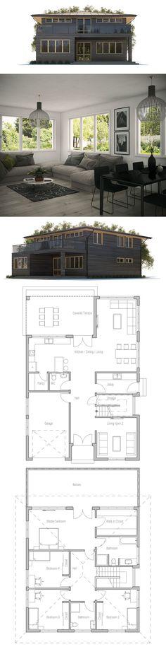 House Plan- Modern 2 story. 2282 Sq ft, 4 bed, 2.5 bath, 1 car garage.