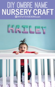 DIY Ombre Letters for Baby #nursery featuring DecoArt Americana Paint | spotofteadesigns.com #decoartprojects #decoart #americana #madeformakers
