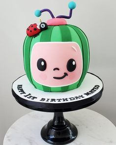 Cocomelon Cake by eunicecakedesigns Baby Boy 1st Birthday Party, Baby Birthday Cakes, Girl Birthday Themes, Birthday Ideas, Melon Cake, Watermelon Birthday Parties, Birthday Cake Decorating, Birthdays, Party Ideas