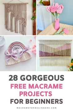 Discover 28 beginner-friendly and FREE Macrame projects to learn new knots and patterns from our talented team of featured Macrame teachers! Recently we celebrated the one-year anniversary of our website macrameforbeginners.com and today we're cheering for the fact that our wonderful Macrame for Beginners Facebook Group just reached 28k members! #macrame #macramepatterns #craft #diy Macrame Wall Hanging Diy, Hanging Flower Wall, Macrame Supplies, Macrame Projects, Free Macrame Patterns, Rainbow Nursery, Macrame Tutorial, Facebook, Group