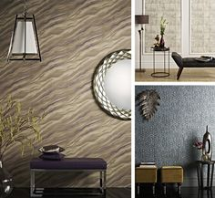 Trompe l'oeil wallpaper creates the Illusions of luxurious marble walls, ceramic tiles and optical effects.