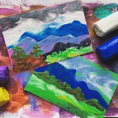 Landscapes Postcards with Modeling Clay – Painted Paper Art