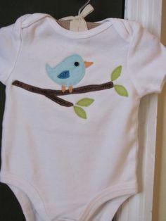 Brighton the bird appliqued onesie 6-9 month by WillowLaneDesigns