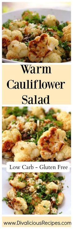 Warm Cauliflower Salad that is low carb & gluten free.  Recipe - http://divaliciousrecipes.com/2015/01/26/cauliflower-salad-warm/