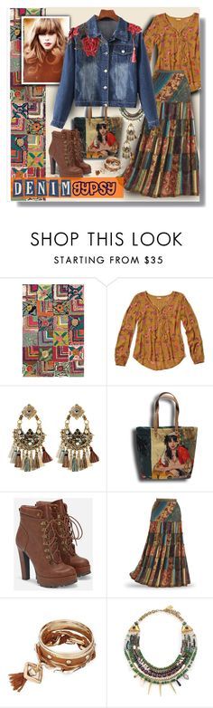 """""""The Denium Gypsy"""" by fernshadowstudio-com ❤ liked on Polyvore featuring Dash & Albert, Hollister Co., Gas Bijoux, JustFab and Lizzie Fortunato"""