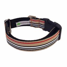 Inspired by the iconic Burberry print, our London Calling Collar is perfect for the preppy pup! The classic tan, red and black stripe pattern is a perfect example of understated style. The collar features a grosgrain ribbon front, with coordinating nylon webbing backing - which means it's not only stylish, but sturdy too!  Made in USA.