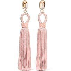 Oscar de la Renta Tasseled silk, gold-plated and Swarovski crystal... (1.625 BRL) ❤ liked on Polyvore featuring jewelry, earrings, pink, swarovski crystals earrings, bezel earrings, clip earrings, pink jewelry and gold plated earrings