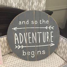 Circle Plank – The Adventure Begins - Baby Room Nursery Twins, Nursery Room, Nursery Decor, Nursery Ideas, Nursery Quotes, Room Ideas, Baby Room Quotes, Fairy Nursery, Decor Ideas