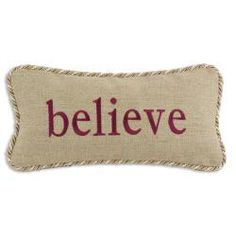 'Believe' Gold/ Tan Trim Decorative Pillow - Overstock™ Shopping - Great Deals on Throw Pillows
