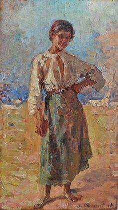 Nicolae Vermont (1866-1932) Țărăncuța/ Country girl Country Girls, Vermont, Painting, Painting Art, Paintings, Drawings