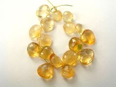 Citrine Faceted Heart (Quality C) / 6 to 9 mm / 6 cm / 27.75 carats / 17 pieces / ST-2383 by beadsofgemstone on Etsy