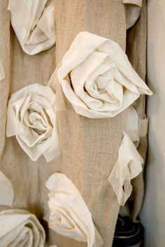 One Lucky Day: January 2011 This is an up close shot of a curtain Rose Curtains, Burlap Curtains, Neutral Curtains, Handmade Flowers, Diy Flowers, Fabric Flowers, Burlap Projects, Burlap Crafts, Diy Crafts