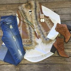 """""""#NEWARRIVALS #FurVest w/ #Embroidered #Detail $59.99 S-L #LongSleeve #Basic #Top $29.99 S-L #FlyingMonkey #Distressed #Boyfriends $78.99 25-30 #FreePeople #Booties $198.00 6, 6.5, 7.5, 8-9.5 #PinkPanache #Necklace $36.99 & #Earrings $39.99 We #ship! Call to order! 903.322.4316 #shopdcs #instagood #instashop #shoplocal #love"""" Photo taken by @daviscountrystore on Instagram, pinned via the InstaPin iOS App! http://www.instapinapp.com (09/15/2015)"""