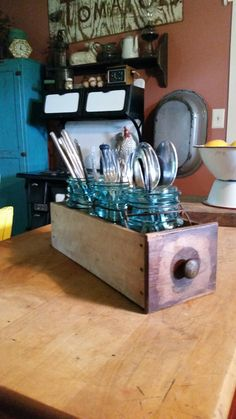 Old sewing machine drawer repurposed.                                                                                                                                                                                 More