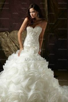 Trumpet/Mermaid Strapless Court Train Organza wedding dress - IZIDRESSES.com at IZIDRESSES.com