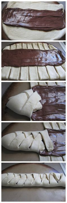 Chocolate bread - a delicious sweet bread filled with Nutella - ideal for breakfast, dessert or as a snack. Chocolate bread - a delicious sweet bread filled with Nutella - ideal for breakfast, dessert or as a snack. Köstliche Desserts, Delicious Desserts, Dessert Recipes, Yummy Food, Cookies Et Biscuits, Sweet Bread, Love Food, Sweet Recipes, Baking Recipes